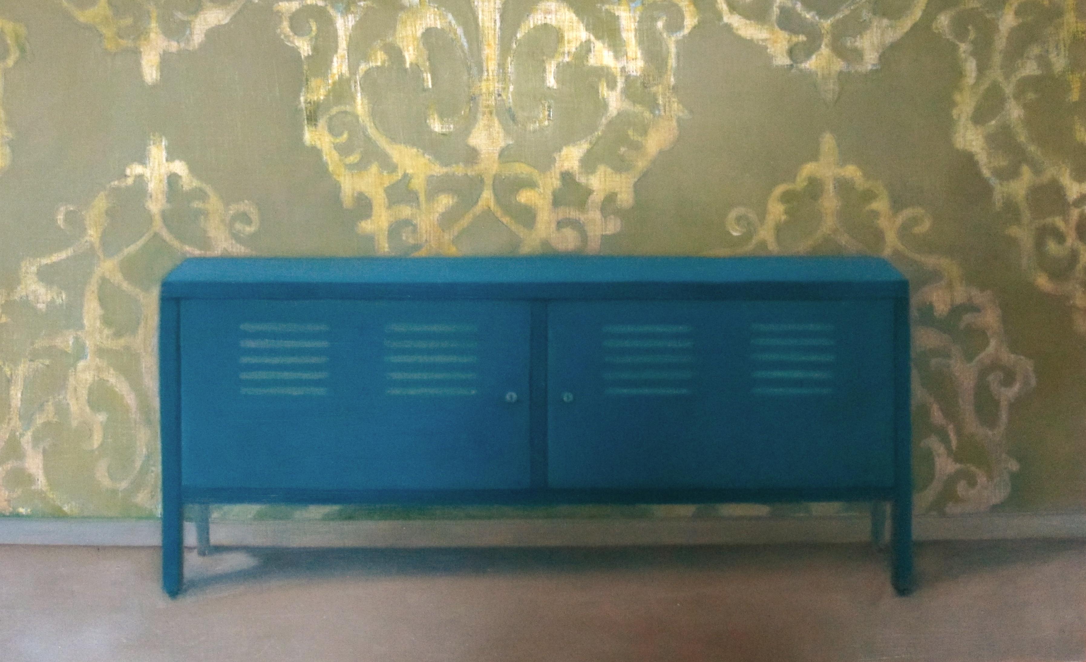 Erica Scheper - Kast Ps Blauw, olieverf op paneel, 24 x 39 cm, 2014