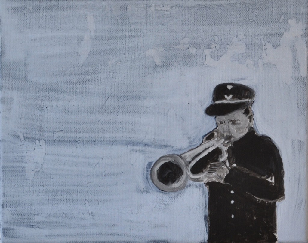 the trumpet man 2016, 24 x 30 cm acrylverf op doek €850,-