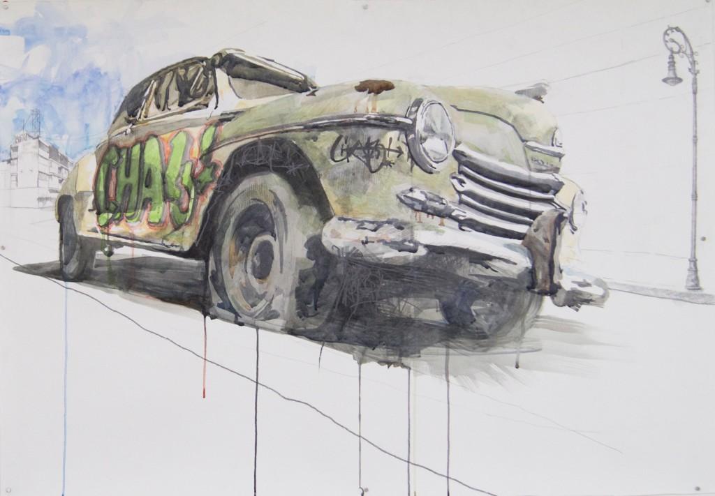 Julio Pastor - Chalé #2 , aquarel op papier, 70 x 100 cm,2017