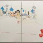 Chantal Breukers - studie (draad) 30 x 60 cm, (kleur)potlood op papier
