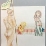 Chantal Breukers - studie (fuck me) 30 x 30 cm, (kleur)potlood op papier