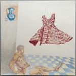 Chantal Breukers - studie (jurk) 30 x 30 cm, (kleur)potlood op papier