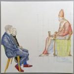 Chantal Breukers - studie (rendez-vous) 30 x 30 cm, (kleur)potlood op papier
