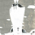 Georg Oskar - Anti-pope,  2017 mixed media op papier, 21 x 15 cm