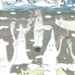 Georg Oskar - Cloud Creatures,  2017 mixed media op papier, 21 x 15 cm