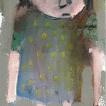 Georg Oskar - Monkey dot girl, 2017 mixed media op papier, 21 x 15 cm