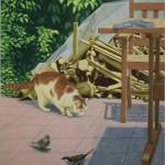 Jans Muskee - in de tuin, oliepastel op papier, 127 x 103, 2018