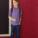 Jans Muskee - jongen met kat, oliepastel op papier, 140 x 80 cm