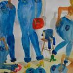 Oskar Nilsson -Levis, Gucci etc, Aquarel op papier, 41 x 30 cm, 2017