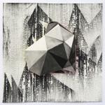 Lenneke van der Goot - Floating (White Noise) #2, 40 x 40 x 2 cm, gemengde techniek op papier, 2018